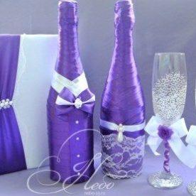 Декор свадебных бутылок шампанского