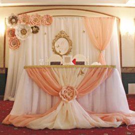 Персиково-цветочная свадьба в ресторане «У Золотых ворот»